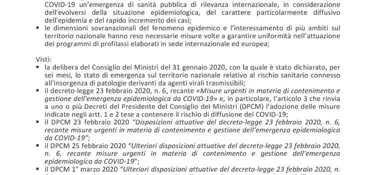 ORDINANZA SINDACALE N. 8 DEL 12/03/2020 EMERGENZA DA COVID-19. ATTIVAZIONE DEL CENTRO OPERATIVO COMUNALE (C.O.C.)