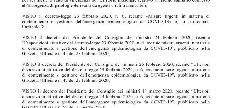 ORDINANZA SINDACALE N. 9 DEL 12/03/2020 Individuazione delle attività indifferibili da rendere in presenza, in esecuzione del DPCM 11.03.2020