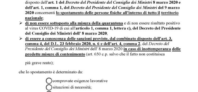 NUOVO MODULO PER LE AUTODICHIARAZIONI (17/03/2020)