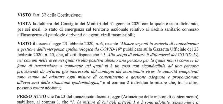 ORDINANZA REGIONALE n. 16 del 13/3/2020 – Ulteriori misure per la prevenzione e gestione dell'emergenza epidemiologica da COVID-19- . Ordinanza ai sensi dell'art. 32, comma 3, della legge 23 dicembre 1978, n. 833 e dell'art.SO del TUEL.