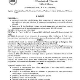 ORDINANZA SINDACALE N. 16 – divieto di utilizzo di fiori freschi nel Cimitero di Piedimonte Matese dal 1 Luglio al 31 Agosto 2020