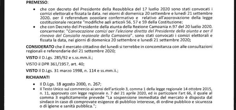 ORDINANZA N. 5 DEL SUB COMMISSARIO – SOSPENSIONE MERCATO SETTIMANALE.